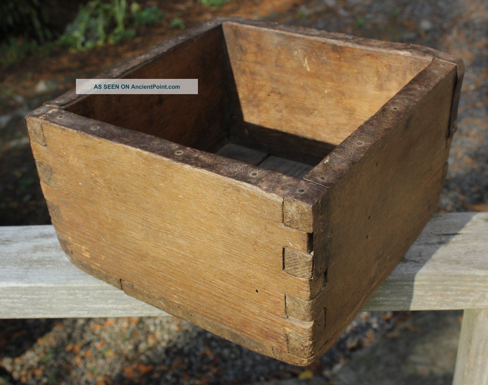 Wonderful 19th C.  Dovetailed Wood Apple Box Primitive Antique Iron Strapping Primitives photo