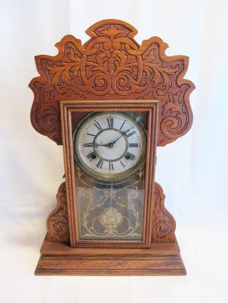 Antique Turn Of Century Wood Wooden Vtg Mantel Table Clock + Key photo