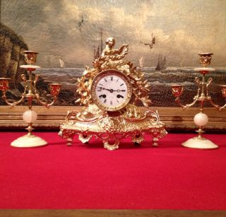 Antique Early Rare Silk Suspension French Clock.  & Candelabra Set C1830s photo