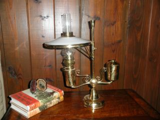 Antique Brass Student Oil Lamp With Shade photo