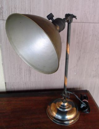 Vtg Antique Industrial Desk Lamp Machine Hinge Arm Light - Rare Japanned Finish photo