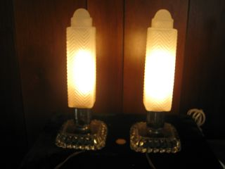Pair Of Rare Vintage Deco Skyscraper Bullet Glass Boudoir Chrome & Glass Lamps photo