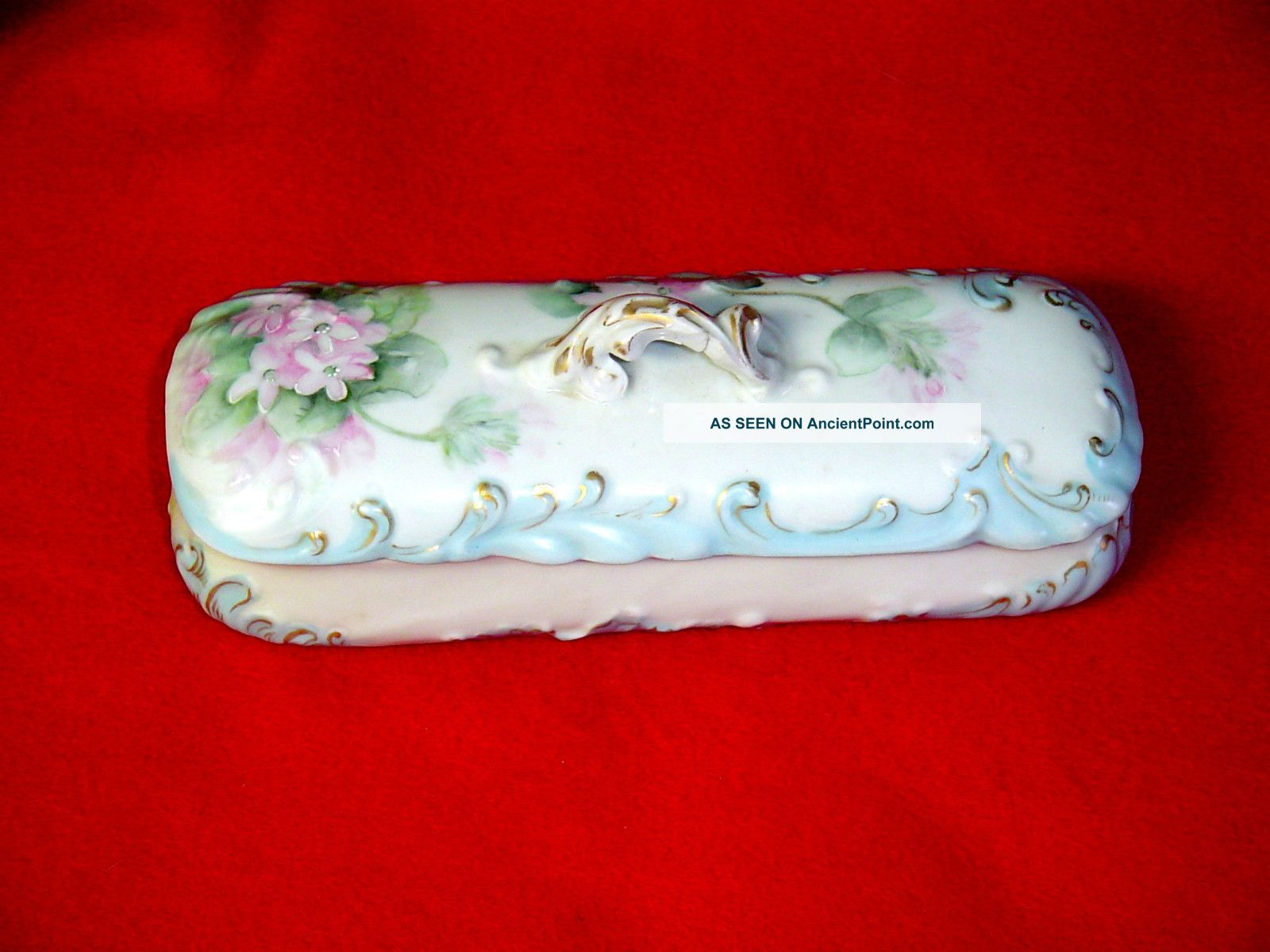 Antique Guerin & Cie Limoges France Pink Florals Porcelain Dresser Box Boxes photo