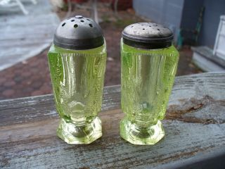 Two Old Triangle Inverted Vaseline Green Salt And Pepper Shakers photo