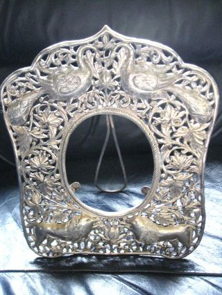 Antique Ornate Silver Stamped.  925 Standing Picture Frame 9
