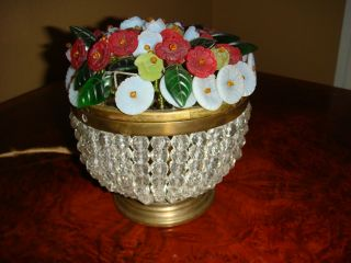 Antique Czech Glass Flower Basket Lamp.  Very Brilliant Color, photo