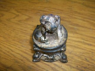 Antique Ink Well Watch Holder Stand Dog Look photo