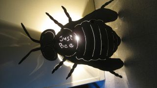 Vintage Hand Crafted Folk Art Stainless Steel Honey Bee Table / Wall Sconce Lamp photo
