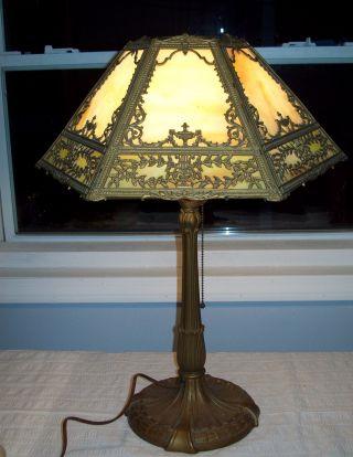 Antique Art Nouveau Royal Art Glass Lamp,  12 Panel Slag Shade,  Music Theme Signed photo