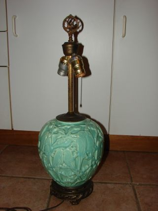 Vintage Large Green Majolica Lamp photo