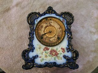 Antique Ansonia Tecumseh Porcelain Clock Or Restoration photo