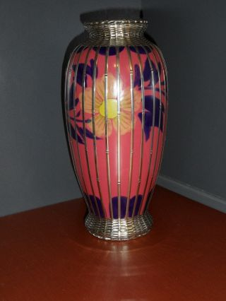 20th Century English Ceramic Vase W/ Silver Overlay - Floral Design - Ca.  1900 ' S photo