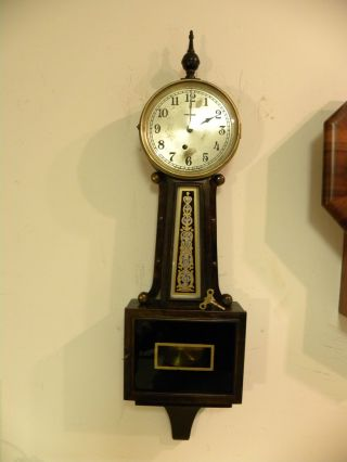 Antique American Ingraham Nyanza Banjo Wall Clock Running Order 6ms photo