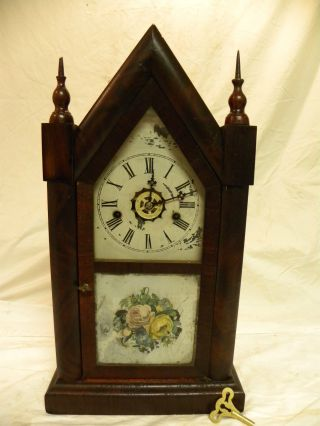 Antique Early American Ansonia Brass & Copper Sharp Gothic Steeple Clock Runs photo