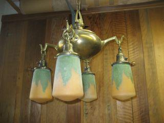 Antique Brass Arts And Crafts 4 Light Chandelier Stickley Era photo