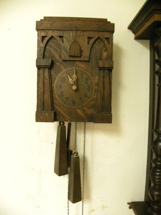 Antique American Mission Style American Cuckoo Clock In Fine Working Order photo