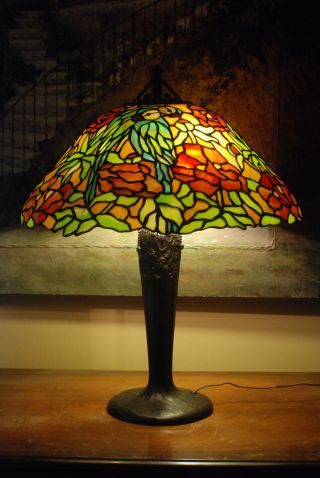 Handel Leaded Glass Lamp Tree Base Hubbell Sockets Signed photo