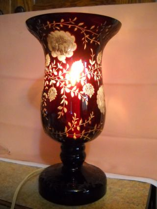 Vintage Ruby Cut To Clear Crystal Table Lamp Flowers Leaves Ruby Lite Ruby Red photo