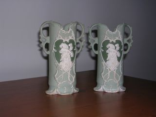 Antique Pair Of Green And White Bisque Vases photo