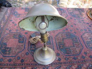 Greist Art Nouveau Tilt Neck Brass Table Lamp Wall Sconce Cloth Cord Machine Age photo