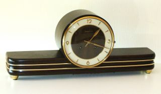 Junghans Chiming Mantel Clock Art Deco Bauhaus Design photo