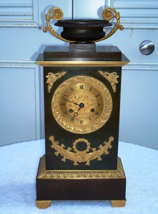 French Empire Gilt/dore And Brown Patina Bronze Clock photo