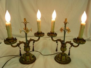 Pair Of Rare Antique Flower & Candle Designed Lamps photo