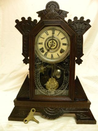 Antique American Gilbert Signal Parlor Clock Running Order 5ms photo