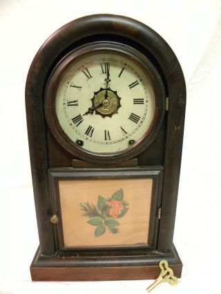 Antique Early American New Haven Round Gothic Extra Parlor Clock Clean And Runs photo