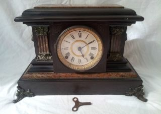 Antique Seth Thomas Adamantine Clock Circa 1900 Beveled Glass/ Lions & Columns photo