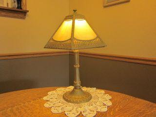Salem Bros Caramel Colored Slag Glass Table Lamp photo
