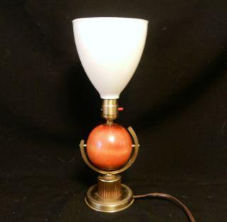 Vintage Art Deco S & J Round Wood Ball Desk Table Lamp Light photo