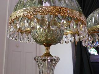 Elegant Victorian Style End Table Lamps With Glass Shade And Prisms photo