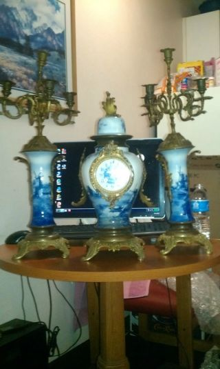 Japy Freres Delftware 3 Piece Clock And Candelabra Set photo