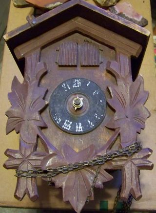 Antique Cuckoo Clock Mechanism Bird Little Man photo