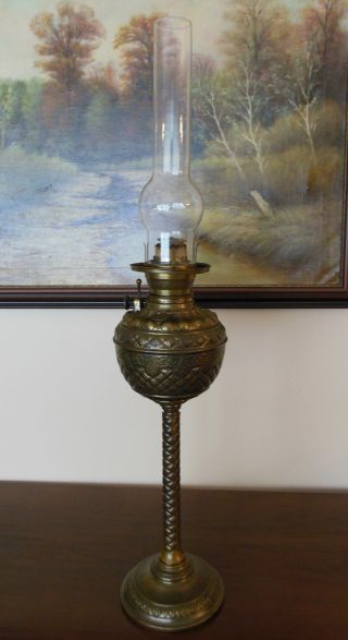 Antique Rare Consolidated Banquet Oil Kerosene Brass Lamp Never Electrified photo