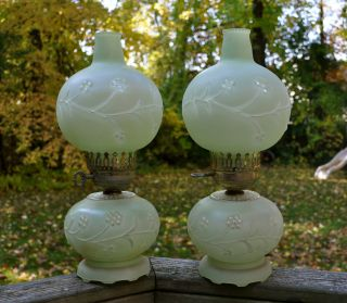 Vintage Antique Hurricane Lamp Pair Green Shabby Glass Globe Chic photo