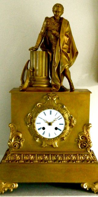 "Antique Gilded Bronze Empire Clock Depicting Tchaikovsky? –impressive 21.  5"" Tall photo"