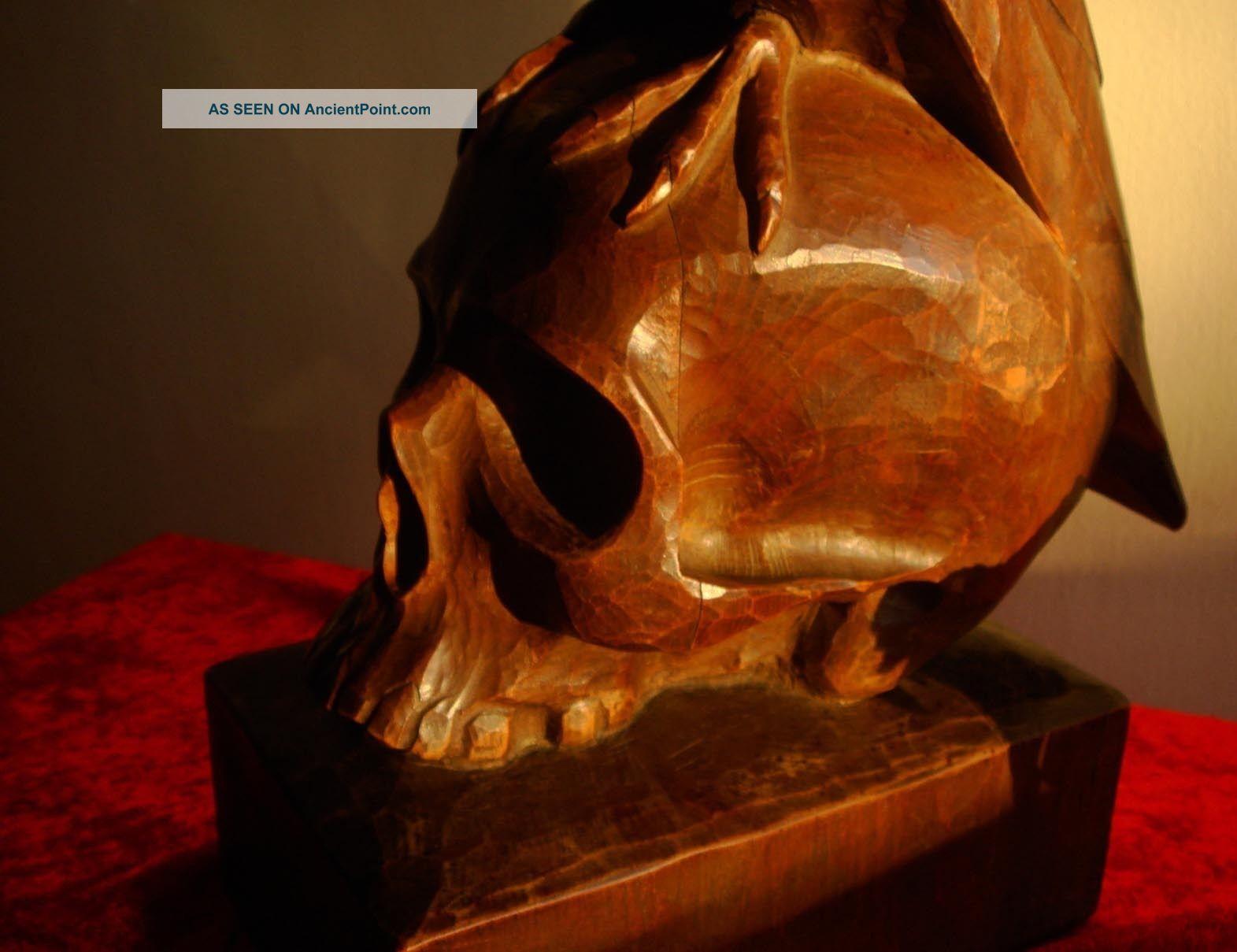 Antique Satanic Wood Carving Sculpture Occult Statue Devil Crow Skull Bronze Carved Figures photo