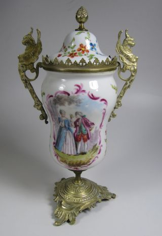 Antique Hand - Painted Porcelain & Brass Urn Covered Jar With Griffins photo