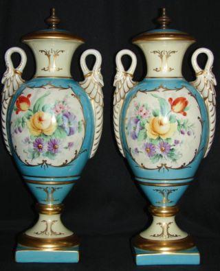 Pr Old Paris Dresden Floral Bolted Porcelain Urns/vases photo