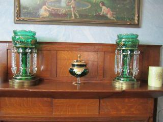 Pair Antique Bohemian Glass Mantle Lustre Lamps Vict.  Emerald Green photo