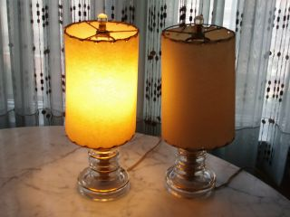 1930s Pair Of Gilded Glass Boudoir Lamps W/shades photo