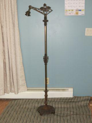 Vintage Art Deco Brass And Iron Bridge Arm Art Deco Floor Lamp photo