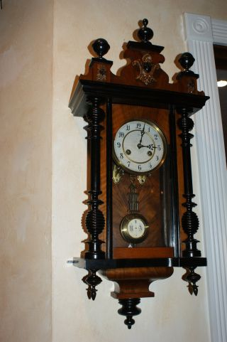 1890 Junghans German Wall Clock - Wood Case photo