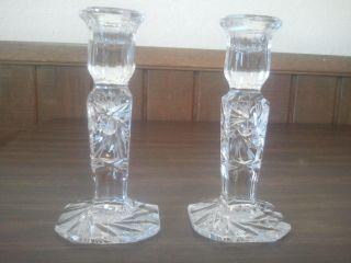 Antique Lead Crystal Candlesticks With Pinwheel Design photo