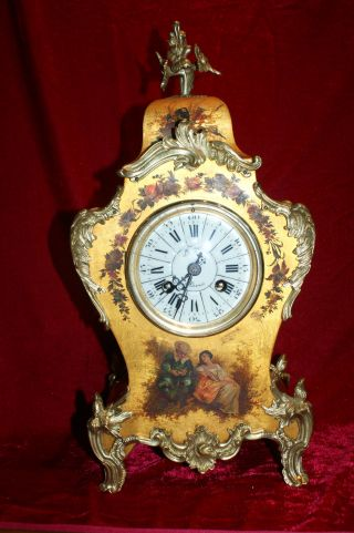 Hand Painted Vernis Martin 1880 French Boulle Clock photo