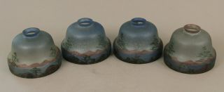 Set Of 4 Moe Bridges Reverse Painted Scenic Lamp Shades Chipped Ice photo