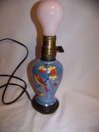 Vintage Japan Lustre Bird Lamp W Wood Base photo