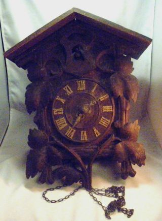 Very Old Large Black Forest Cuckoo Clock Or Restore. photo